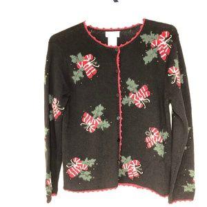 Talbots Ugly Christmas Cardigan Vtg Unworn sz L